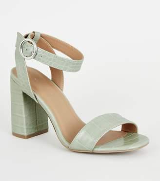 New Look Faux Croc Block Heel Sandals