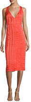 Diane von Furstenberg Sleeveless V-Neck Tailored Midi Dress, Red