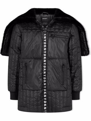 DKNY Padded Logo-Zip Coat