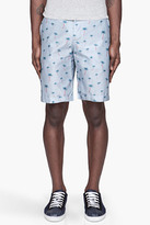 Alexander McQueen Blue Palm Print Bermuda Shorts