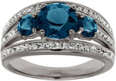 JCPenney FINE JEWELRY Blue and White Crystal Sterling Silver 3-Stone Ring