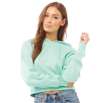 Fluid Womens Cotton/Recycled Polyester Cropped Hoodie Mint Green