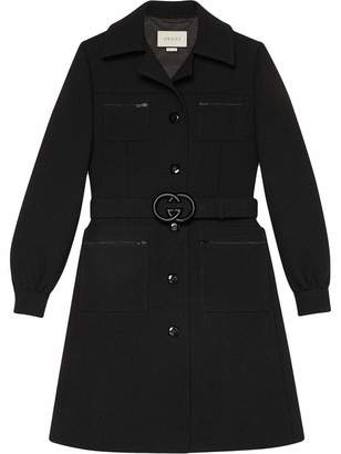 Gucci Wool Single Breasted Coat with GG Belt