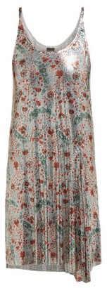 Paco Rabanne Carnation-print Chainmail Dress - Womens - Silver Multi