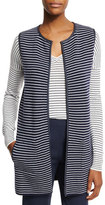Loro Piana Vernazza Reversible Striped Vest, Spring Blue/White