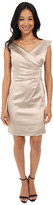 Tahari by Arthur S. Levine Petite Stretch Satin Side Rouched Portrait Collar Dress