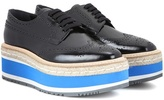 Prada Wingtip Platform Leather Brogues