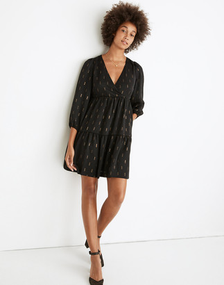 Madewell Metallic Jacquard Faux-Wrap Tiered Mini Dress