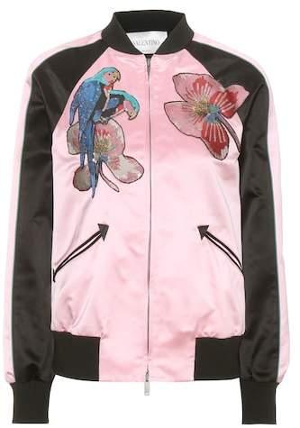 Valentino Embellished silk-satin bomber jacket