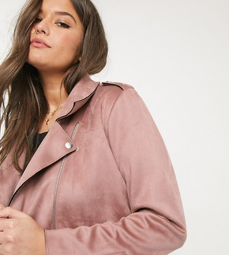 Only Curve biker jacket in pink faux suede