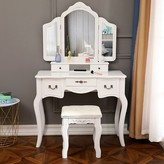 Brucker Vanity Set with Stool and Mirror Canora Grey