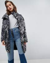 Asos Cocoon Puffer Coat With Mittens In Mono Print