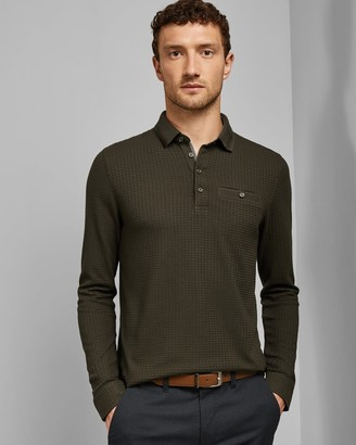 Ted Baker Long Sleeved Textured Cotton Polo Shirt