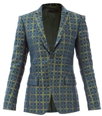 Haider Ackermann Tadmor Jacquard-check Cotton-blend Jacket - Blue Multi