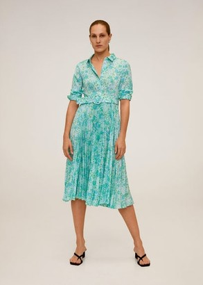 MANGO Pleated floral dress blue - 4 - Women