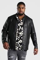 boohoo Mens Black Big And Tall Leather Look Central Zip Biker, Black