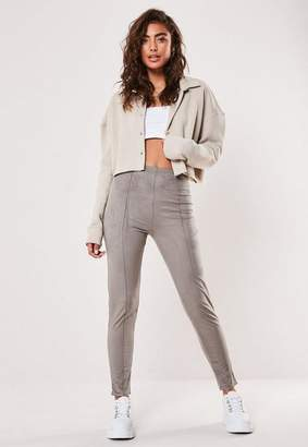 Missguided Gray Faux Suede Pin Tuck Leggings