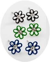 "Aurora 3 Pair Tiny Flower Stud Earrings 1/4"" Diameter Crystal Fashion Jewelry Boxed"
