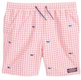 Vineyard Vines Embroidered Micro Gingham Check Swim Trunks