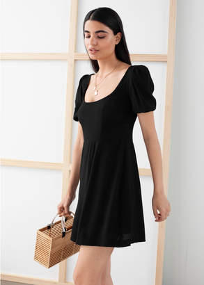 And other stories Puff Sleeve Crepe Mini Dress