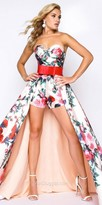 Mac Duggal Floral Print Romper with Detachable Overskirt Prom Dress