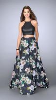 La Femme Svelte Halter Crop Top Floral Print Evening Gown 24280