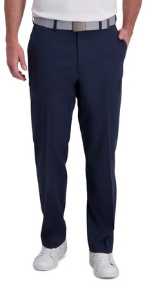 Haggar Men's Cool Right Performance Flex Stria Classic-Fit Flat-Front Pants
