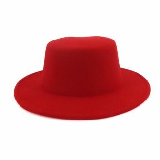 M.J.Z Hats Fashion Women Wool Red Fedoras Hat for Elegant Lady Jazz Cap Wide Brim Simple Church Hat Jazz Hat M.J.ZUR (Color : Red Size : 56-58)