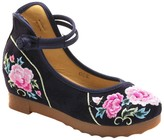 Embroidered Kicks Women's Ballet Flats Navy - Navy Floral Ankle-Strap Wedge - Women