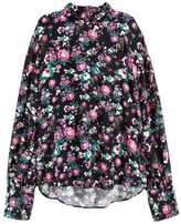 H&M Wide-cut Blouse - Black floral - Ladies