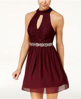 Speechless Juniors' Embellished Open-Back Dress