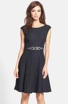 Eliza J Women's Embellished Glitter Knit Fit & Flare Dress