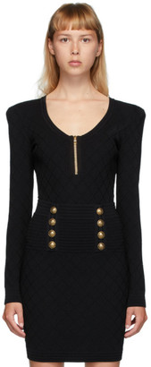 Balmain Black Diamond Knit Long Sleeve Bodysuit