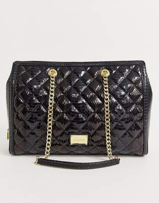 Love Moschino high shine snake quilted faux leather tote bag-Black