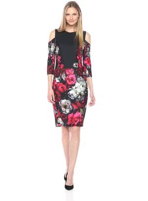Jax Women's Floral Cold Shoulder midi Length Sheath