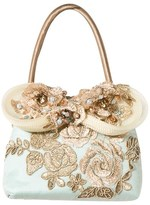Lesy Blue and Gold Floral Embroidered Tote Bag