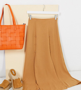 ASOS DESIGN Petite double split maxi skirt in camel