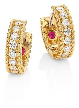 Roberto Coin Symphony Braided Diamond & 18K Yellow Gold Huggie Hoop Earrings
