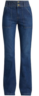Frame Le High Patch Pocket Trapunto Stitch Flared Jeans