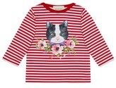 Gucci Toddler Girl's Cat Graphic Stripe Long Sleeve Tee