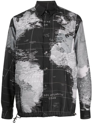Sacai Long Sleeve World Map Print Shirt