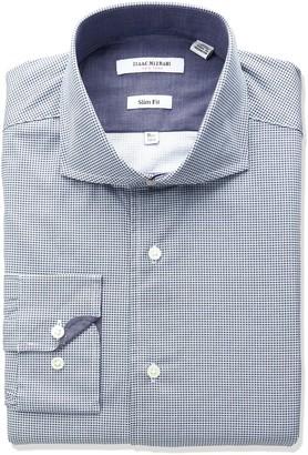 Isaac Mizrahi Men's Slim Fit Printed Mini Neat Cut Away Collar Dress Shirt
