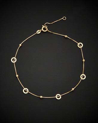 Italian Gold 14K Circles & Diamond-Cut Beads Station Adjustable Length Anklet