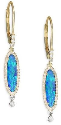 Meira T Pave Diamond, Opal, 14K White & Yellow Gold Post Earrings