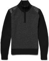 Belstaff - Eyston Leather-trimmed Merino Wool Half-zip Sweater