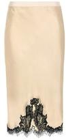 Helmut Lang Lace-trimmed Satin Skirt