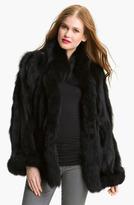 George Simonton Couture Reversible Genuine Fox Fur & Silk Coat