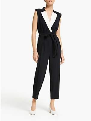Marella Scorpio Tuxedo Jumpsuit, Black/White