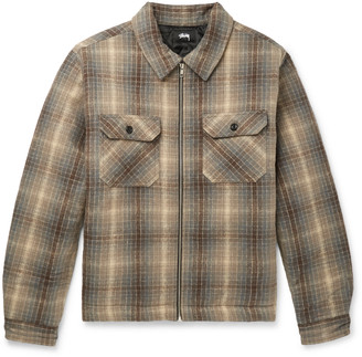 Stussy Checked Brushed-Cotton Shirt Jacket