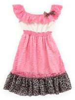 Mini Little Mass Zebra-Print Ruffle Dress, 4-6X